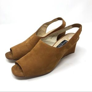 KENNETH COLE suede peep toes wedges